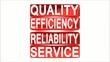 Drehschild Qualität und Service, rot