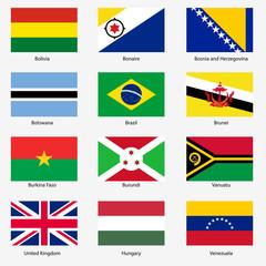 Set Flags of world sovereign states. Vector illustration. Set n