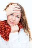 Diseased cold woman in a red scarf and sweater, white background poster