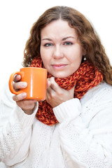 Woman with sore throat drinking hot tea from cup, isolated