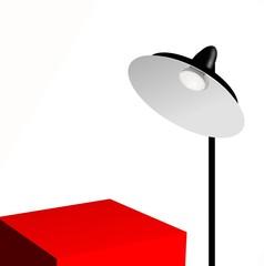 lampade con ripiano rosso per esposizione