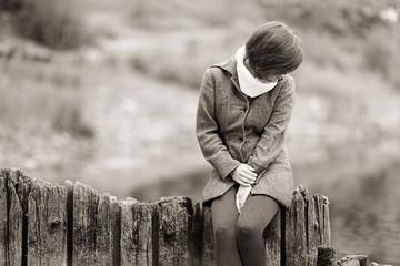 sad girl in autumn