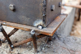 welding metal and wood by electrode with bright electric arc poster