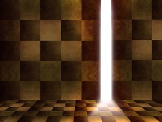 チェック柄の暗い室内と出口