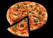 Pizza on black