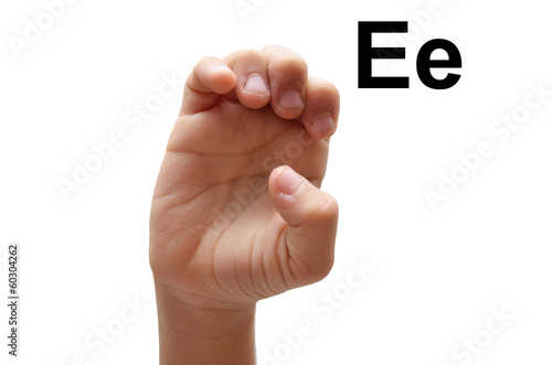 E kid hand spelling american sign language ASL