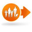 famille sur symbole web orange