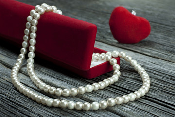Romantic gift  into jewelry box.  Valentine's day
