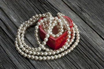 Valentines Day heart-shaped gift box with pearl