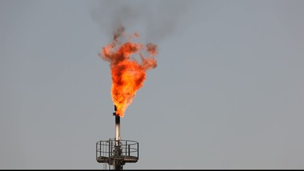 Oil refinery gas flare. Bahrain, Middle East