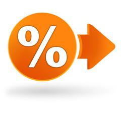pourcentage sur symbole web orange