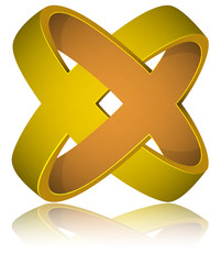 Gold Rings Impossible Figure Icon Sign, Eternal Love Concept