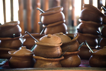 Rustic handmade clay brown terracotta pots