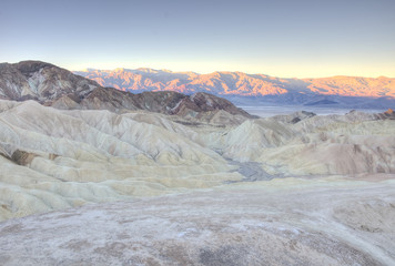 Panoramic view at sunrise of Zabriskie Point,Death Valley