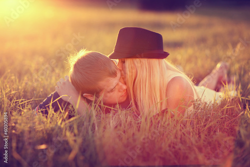 Love at sunset in a wheat field