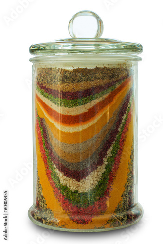 Glass jar with variety spices