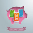 Silver Background Piggy Bank Price Stickers