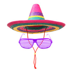 A colorful mexican sombrero with party goggles.