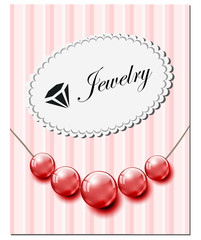 Jewelry card with red glass pearls