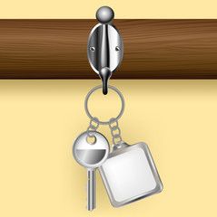 Key and key ring on a coat rack