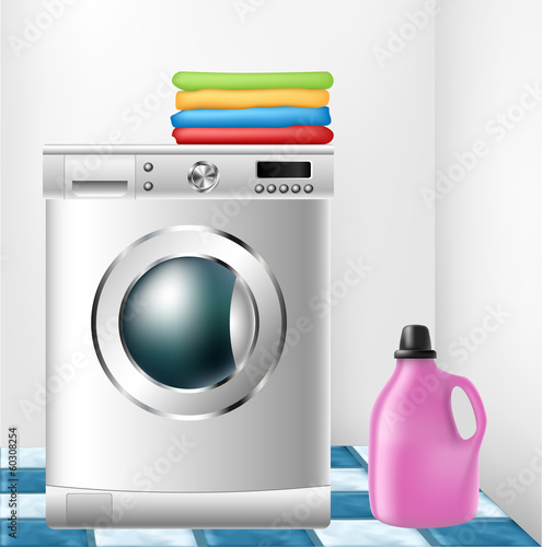 Washing machine with clothes and detergent bottle