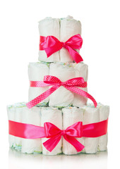 Cake of diapers decorated red ribbons