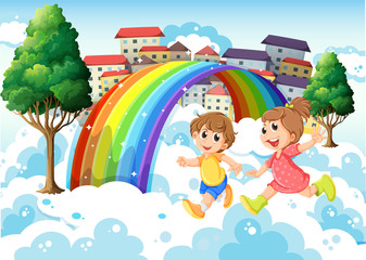 Kids playing near the rainbow