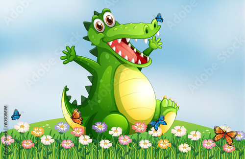 A hilltop with a smiling crocodile