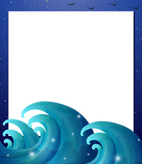 An empty paper template with waves