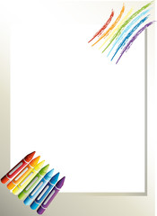 An empty paper template with crayons