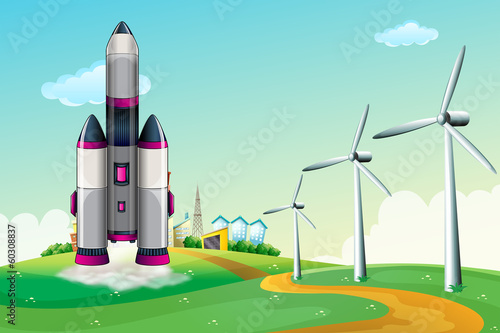An aircraft at the hilltop with windmills - 60308837