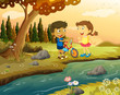 A boy and a girl with a bike standing at the riverbank