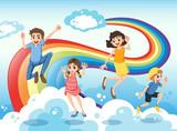 A happy family near the rainbow
