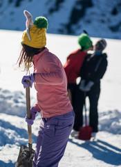 Skating on frozen mountain lake