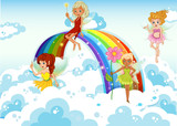 Fairies above the sky near the rainbow