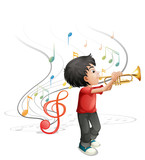 A talented young boy playing with the trumpet