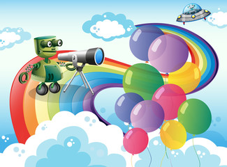 Robots in the sky with a rainbow and balloons