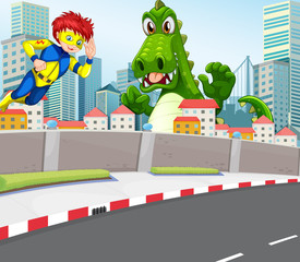 A superhero and a crocodile in the city
