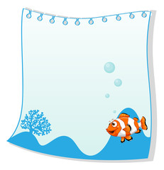 An empty paper template with a fish