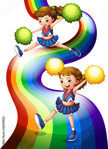 A rainbow and the two cheerers