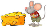 A slice of cheese beside the mouse