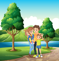 A family at the riverbank
