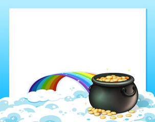 An empty template with a pot of gold and a rainbow