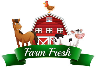 Farm animals, a barnhouse and a signboard
