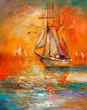 Leinwandbild Motiv Ship in ocean