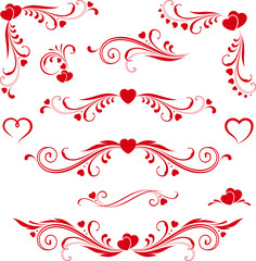 heart-scroll-set