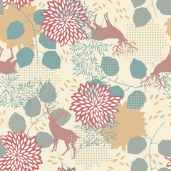 Seamless Pattern with Deers and Leaves