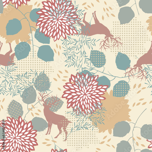 Panel Szklany Seamless Pattern with Deers and Leaves