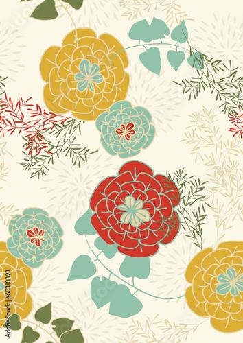 Fototapeta Seamless Pattern with Flowers