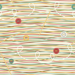 Seamless Pattern with Threads and Buttons